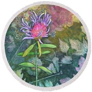Thistle Round Beach Towel by Nancy Jolley