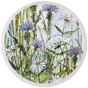 Thistles Daisies And Wildflowers Round Beach Towel