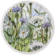 Round Beach Towel featuring the painting  Thistles Daisies And Wildflowers by Laurie Rohner