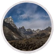 Round Beach Towel featuring the photograph Thokla Pass Nepal by Mike Reid