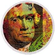 Round Beach Towel featuring the digital art Thomas Jefferson - $2 Bill by Jean luc Comperat