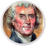 Thomas Jefferson Portrait Round Beach Towel