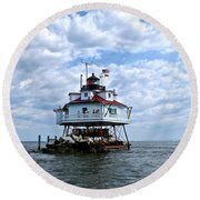 Thomas Point Lighthouse Round Beach Towel