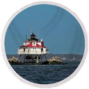 Thomas Point Shoal Light Round Beach Towel