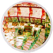 Round Beach Towel featuring the photograph Thompson Center by Tom Jelen