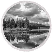 Thompson Lake In Black And White Round Beach Towel