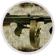 Thompson Submachine Gun 1921 Round Beach Towel