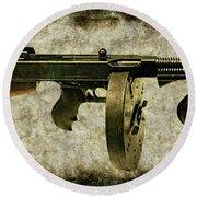 Thompson Submachine Gun 1921 Round Beach Towel