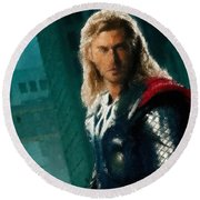 Thor Oil Pastel Sketch Round Beach Towel