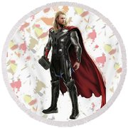 Round Beach Towel featuring the mixed media Thor Splash Super Hero Series by Movie Poster Prints