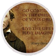 Thoreau Quote 1 Round Beach Towel by Andrew Fare