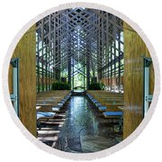 Round Beach Towel featuring the photograph Thorncrown Chapel Entrance by Cricket Hackmann