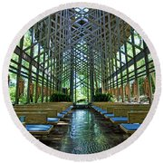 Round Beach Towel featuring the photograph Thorncrown Chapel Interior by Cricket Hackmann