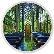 Round Beach Towel featuring the photograph Thorncrown Chapel Serenity by Cricket Hackmann