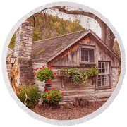Round Beach Towel featuring the photograph Thorp Cabin Door County Wisconsin by Heidi Hermes