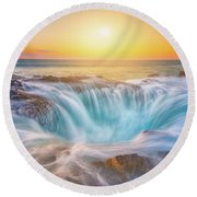 Round Beach Towel featuring the photograph Thor's Light by Darren White