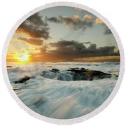 Round Beach Towel featuring the photograph Thors Well Cape Perpetua 1 by Bob Christopher