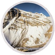 Thorung La Pass In The Annapurna Range In The Himalayas In Nepal Round Beach Towel