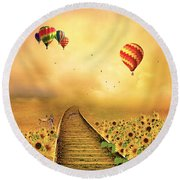 Round Beach Towel featuring the photograph Those Infernal Flying Machines by Diane Schuster