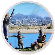 Round Beach Towel featuring the photograph Those Who Wait by AJ Schibig