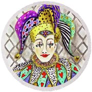 Thoughtful Jester Round Beach Towel