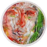 Round Beach Towel featuring the painting Thoughtful by Lisa Kaiser