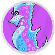 Round Beach Towel featuring the painting Thoughts And Colors Series Seahorse by Veronica Minozzi