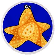 Round Beach Towel featuring the painting Thoughts And Colors Series Starfish by Veronica Minozzi