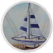 Thoughts Of Sea Round Beach Towel