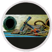 Thoughts Of The Sea Round Beach Towel