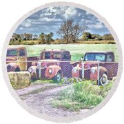 Three 1940 Ford Pickups For Sale Round Beach Towel by Janette Boyd