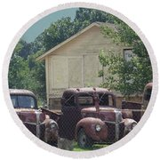 Round Beach Towel featuring the photograph Three 1940 Ford Pickups by Janette Boyd