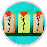 Three Abstract Figures With Hearts Round Beach Towel