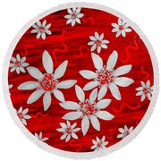 Three And Twenty Flowers On Red Round Beach Towel
