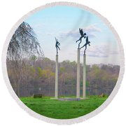 Round Beach Towel featuring the photograph Three Angels In Spring - Kelly Drive Philadelphia by Bill Cannon