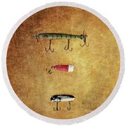 Three Antique Fishing Lure Round Beach Towel by Stephanie Frey