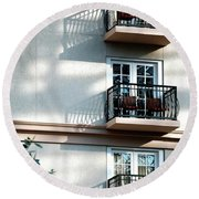 Round Beach Towel featuring the photograph Three Balconies by Jerry Sodorff