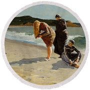 Three Bathers Round Beach Towel by  Newwwman