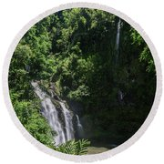 Three Bear Falls Or Upper Waikani Falls On The Road To Hana, Maui, Hawaii Round Beach Towel by Peter Dang
