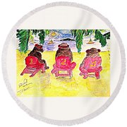 Watercolor Three Bears Visiting Hawaii Round Beach Towel
