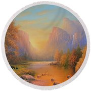 Yosemite National Park Round Beach Towel by Joe Gilronan