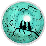 Three Black Cats Under A Full Moon Round Beach Towel