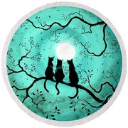 Three Black Cats Under A Full Moon Round Beach Towel by Laura Iverson