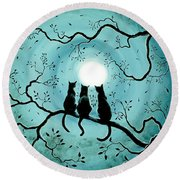Three Black Cats Under A Full Moon Silhouette Round Beach Towel by Laura Iverson