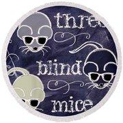 Three Blind Mice Children Chalk Art Round Beach Towel by Mindy Sommers