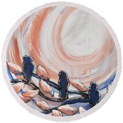 Three Blue Round Beach Towel