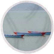 Three Blue Boats On Phewa Lake In Pokhara Round Beach Towel