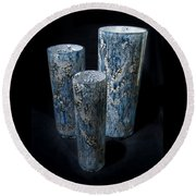 Three Blue Cylinders Round Beach Towel