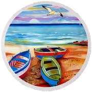 Three Boats And A Seagull Round Beach Towel
