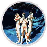 Round Beach Towel featuring the painting Three Boys, Hear No Evil, Speak No Evil, See No Evil by Rene Capone